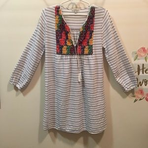 J. Crew striped and embroidered tunic dress Small